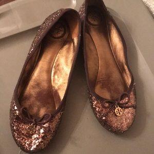 Tory Burch Metallic Bronze Glitter Flats